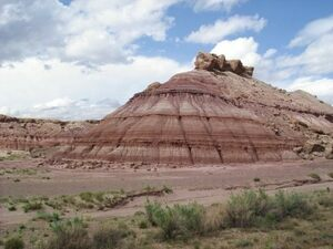 Photo of the Brushy Basin Member of the Morrison Formation.  Photo by Anky-man