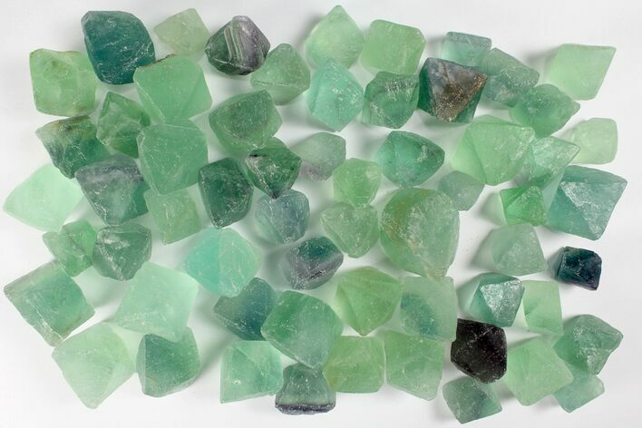 Green Fluorite Octahedrons - 1 KG Bag (~45 Pieces) - Photo 1