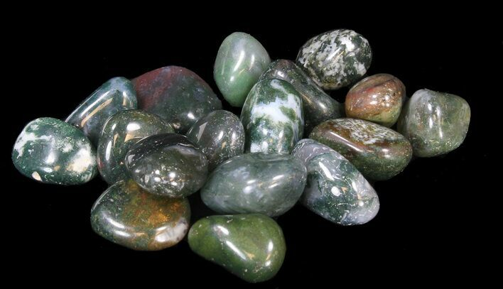 Bulk Polished Green Moss Agate - 8oz. (~ 20pc.) - Photo 1