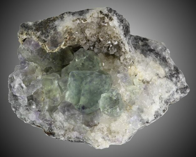 "2.5"" Fluorite and Quartz, Fujian Province, China"