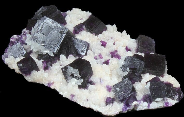 "4"" Dark Purple Cubic Fluorite on Quartz - Exceptional!"