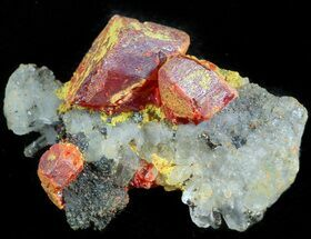 Realgar, Sphalerite & Quartz - Fossils For Sale - #45738