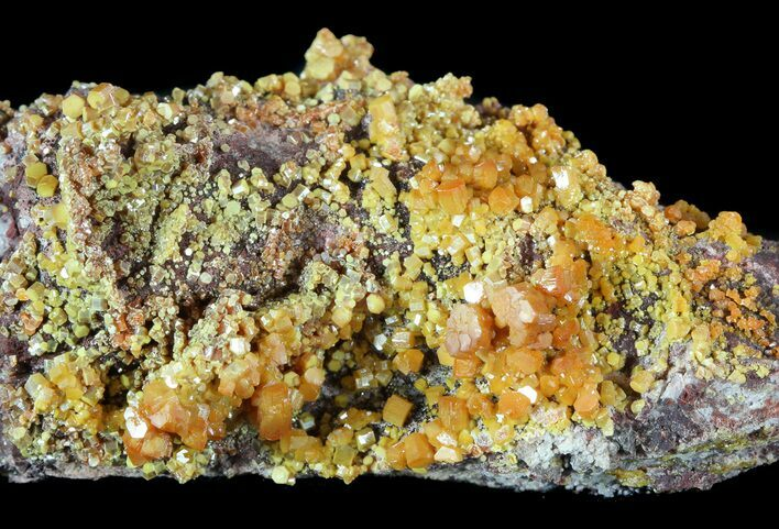 "2.7"" Orange Hexagonal Mimetite Crystal Cluster - Rowley Mine, AZ"