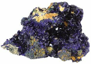 "3.3"" Azurite Crystal Cluster with Fibrous Malachite - Laos For Sale, #50774"
