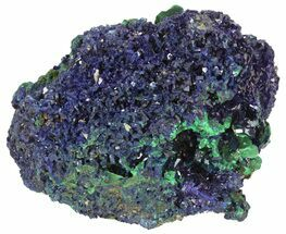 "3.3"" Azurite Crystal Cluster with Fibrous Malachite - Laos For Sale, #50777"