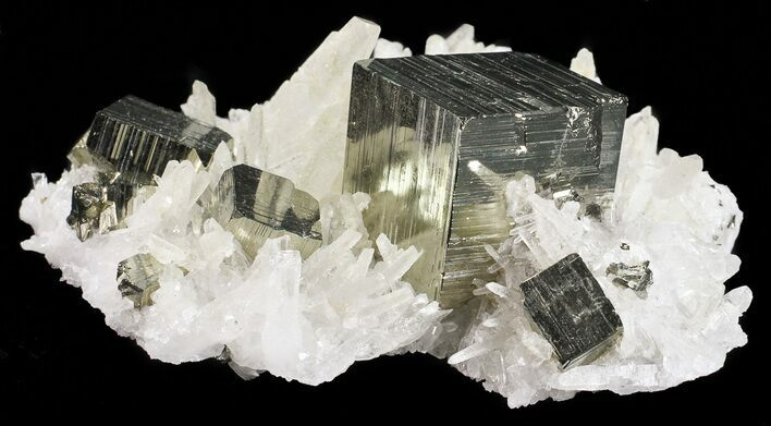 "5.2"" Gleaming, Cubic Pyrite With Quartz Crystals - Peru"
