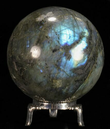 "2.7"" Flashy Labradorite Sphere - With Nickel Plated Stand"