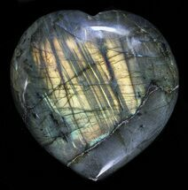 "3.2"" Flashy Polished Labradorite Heart For Sale, #58859"