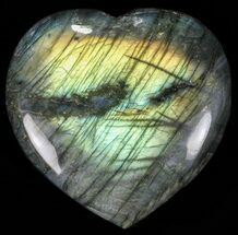 "3.5"" Flashy Polished Labradorite Heart For Sale, #58874"