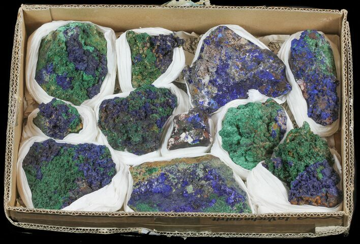 Azurite & Malachite on Matrix (Wholesale Lot) - 11 Pieces