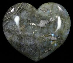 "3.9"" Flashy Polished Labradorite Heart For Sale, #62483"