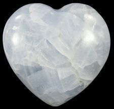 "3.6"" Polished, Blue Calcite Heart - Madagascar For Sale, #62528"