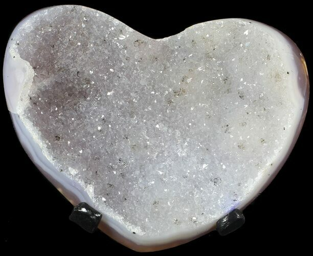 "3.9"" Polished, Agate Heart with Druzy Quartz - Metal Stand"