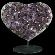"10.9"" Amethyst Crystal Heart On Metal Stand - Uruguay For Sale, #62810"