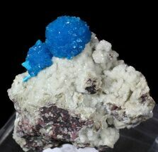 Buy Vibrant Blue Cavansite Clusters on Stilbite - India - #62881