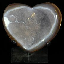 "4.7"" Polished, Agate Heart Filled with Druzy Quartz - Uruguay For Sale, #62831"