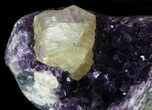 "12"" Wide Amethyst Crystal Cluster With Calcite - Metal Stand - #63120-2"