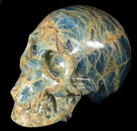 "Beautiful, 5.8"" Carved, Blue Onyx Skull - Argentina"