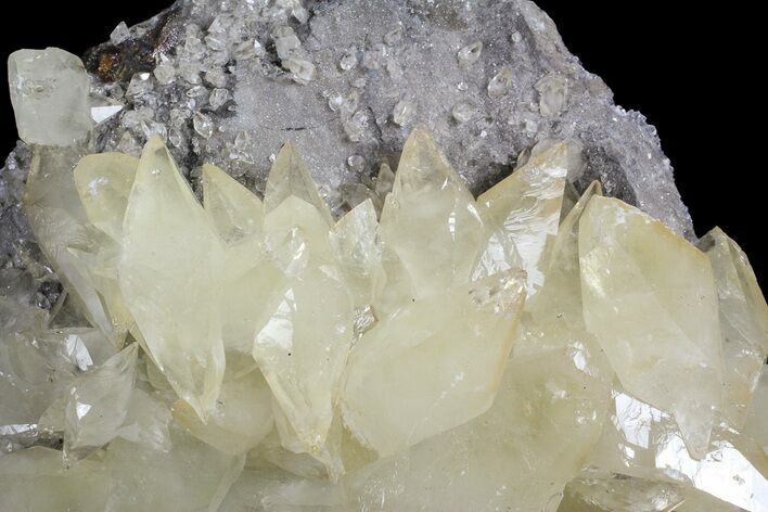 "5.1"" Calcite On Quartz & Sphalerite - Elmwood Mine"