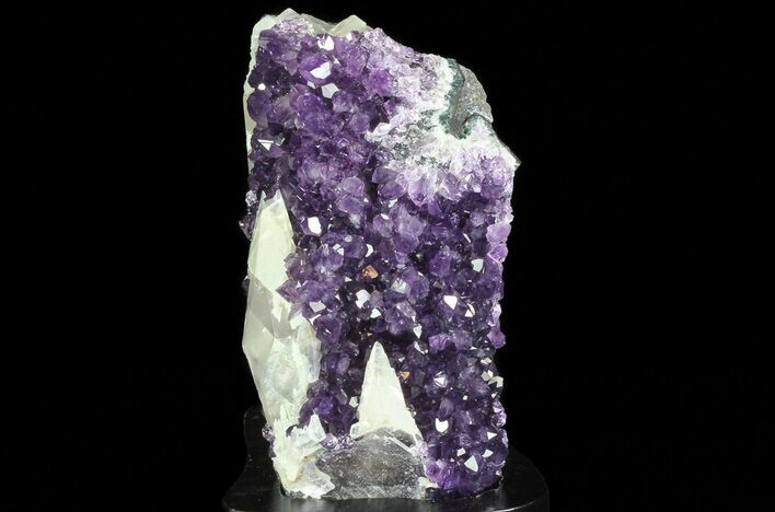 "5.1"" Amethyst Cluster with Calcite On Wood Base"