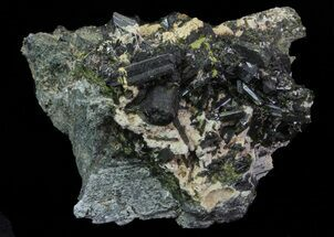 "Lustrous 3.5"" Epidote Crystal Cluster on Actinolite - Pakistan For Sale, #68246"