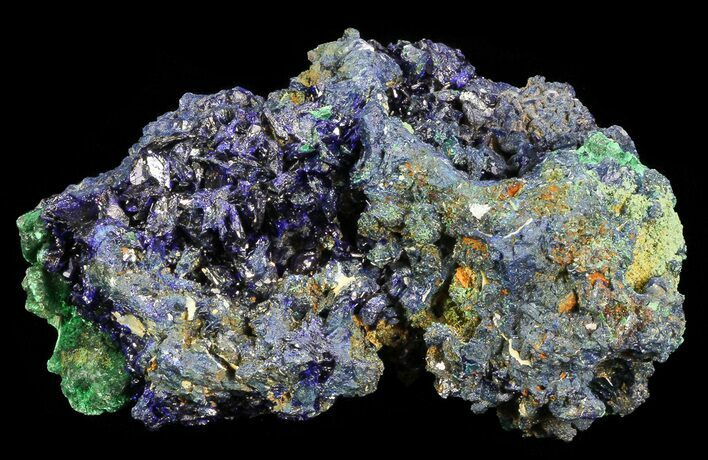 "2.6"" Sparkling Azurite Crystal Cluster with Malachite - Laos"