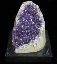"Buy 6.6"" Dark Purple Amethyst Cluster On Wood Base - #76696"