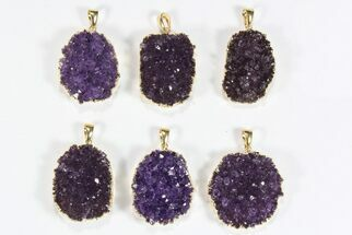 Buy Wholesale Lot: Druzy Amethyst Oval Pendants - 6 Pieces - #78439