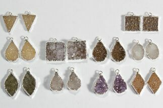 Lot: Amethyst Slice Pendants/Earrings - 10 Pairs For Sale, #78479