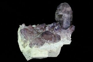 Buy Smoky Amethyst Crystal Cluster on Feldspar Matrix - Namibia - #46033