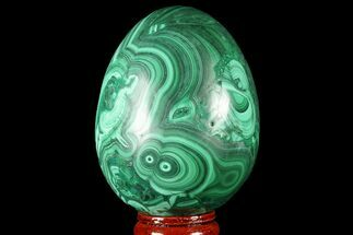 "Buy Stunning, 2.8"" Polished Malachite Egg - Congo - #78928"