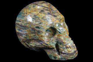 "2.9"" Carved, Blue Calcite Skull - Argentina For Sale, #80876"