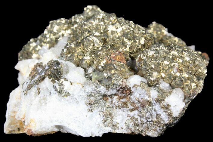 "3.1"" Pyrite On Calcite - El Hammam Mine, Morocco"