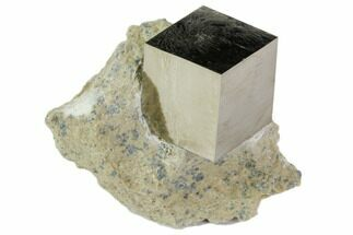 "1.1"" Natural Pyrite Cube In Rock From Spain For Sale, #82085"