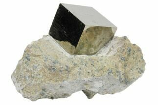 ".8"" Natural Pyrite Cube In Rock From Spain For Sale, #82073"