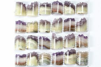 Wholesale Lot: Amethyst Half Cylinder (For Pendants) - 24 Pieces For Sale, #83432