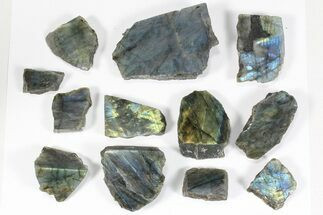 Wholesale: 1kg One Side Polished Labradorite - 12 Pieces For Sale, #84455