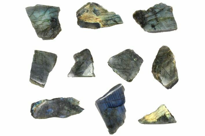 Wholesale: 1kg One Side Polished Labradorite - 10 Pieces