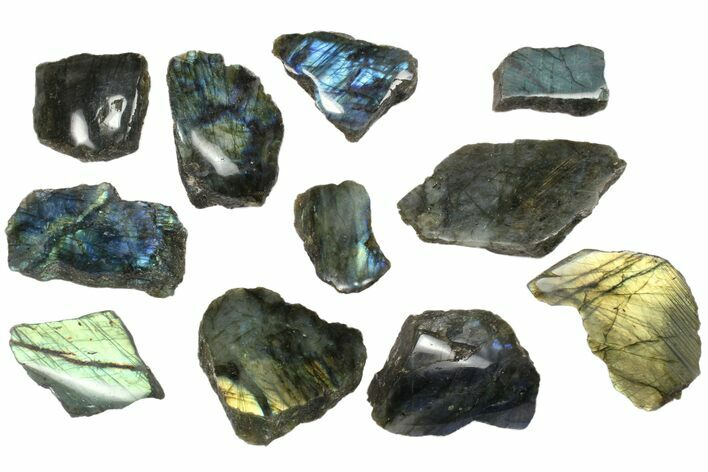 Wholesale: 1kg One Side Polished Labradorite - 11 Pieces
