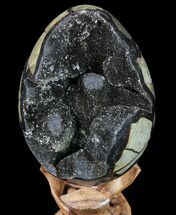 "6.3"" Septarian ""Dragon Egg"" Geode - Black Crystals For Sale, #88160"