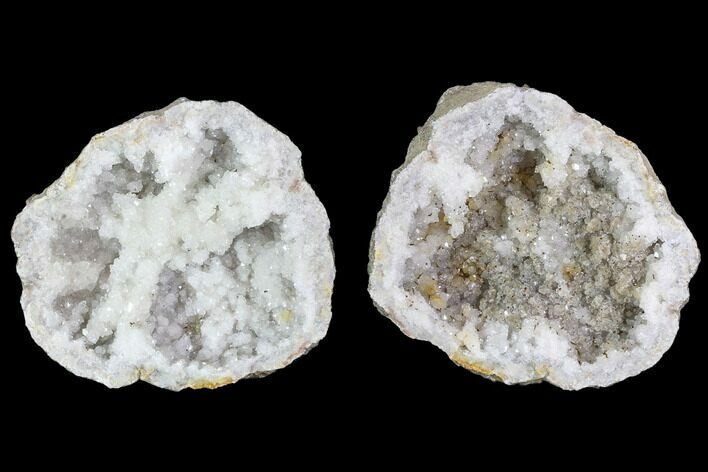 "4"" Keokuk Quartz and Calcite Geode Pair - Illinois"