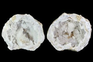 "Buy 5.3"" Keokuk Druzy Quartz and Calcite Crystal Geode Pair - Illinois - #91402"