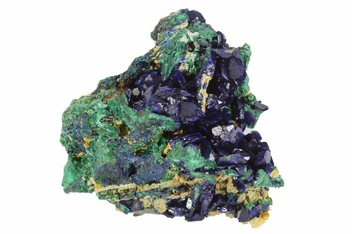 "2.15"" Large, Sparkling Azurite Crystals With Malachite - Laos"