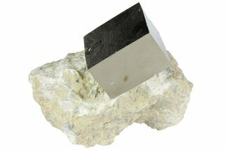 "1"" Shiny, Natural Pyrite Cube In Rock - Navajun, Spain For Sale, #95633"