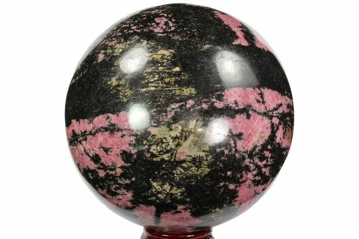 "Huge, 6.3"" Rhodonite Sphere - Madagascar"
