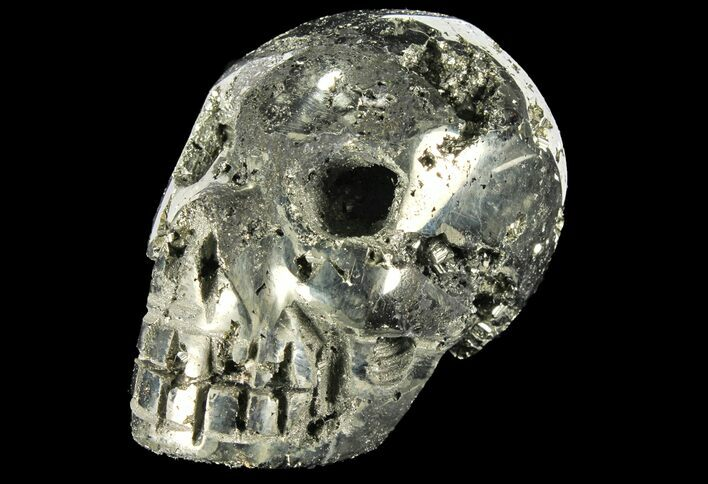 "3.1"" Polished Pyrite Skull With Pyritohedral Crystals - Peru"