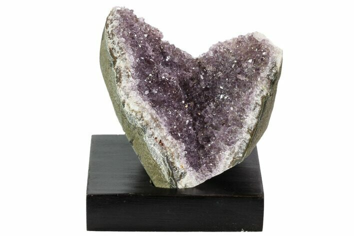 "3.9"" Wide, Purple Amethyst Crystal Cluster On Wood Base - Uruguay"