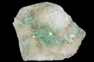 "3.8"" Green Apophyllite Flower on Peach Stilbite - India For Sale, #102341"