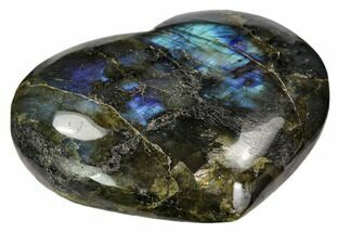 "4.3"" Flashy Polished Labradorite Heart For Sale, #62957"