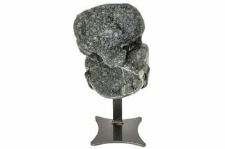 "7"" Amethyst Geode on Metal Stand - Silvery Crystals For Sale, #104579"